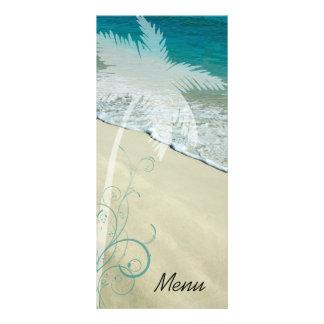 Menú tropical del boda de playa plantilla de lona