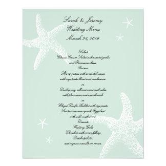 """Menú verde claro del boda de las estrellas de mar folleto 4.5"""" x 5.6"""""""