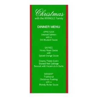"""Menú verde de la cena de las rayas del navidad invitación 4"""" x 9.25"""""""