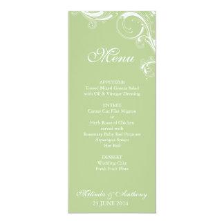 Menú verde de Margarita del remolino afiligranado Invitación 10,1 X 23,5 Cm