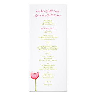 """Menú verde del boda de las flores simples invitación 4"""" x 9.25"""""""