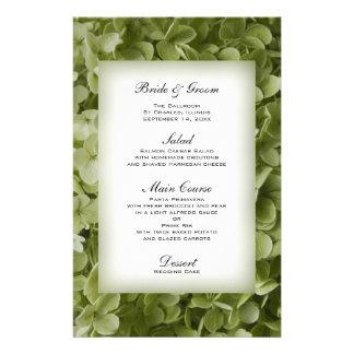 Menú verde del boda del Hydrangea de Annabelle Papelería Personalizada