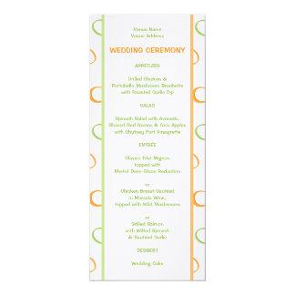 """Menú verde pintado del boda de los círculos retros invitación 4"""" x 9.25"""""""