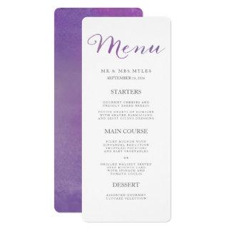 """Menú/violeta puros del boda de la acuarela del invitación 4"""" x 9.25"""""""