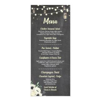 Menu Wedding Reception Fireflies Jars Chalk Cards
