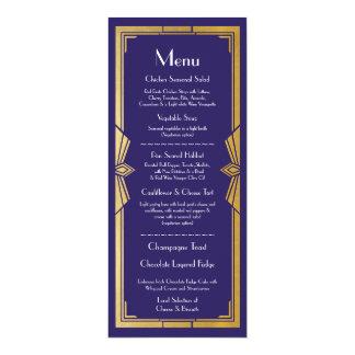 Menu Wedding Reception Rustic 1920's Navy Art Deco Card