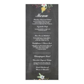 Menu Wedding Reception Rustic Chalk Floral Flowers Card