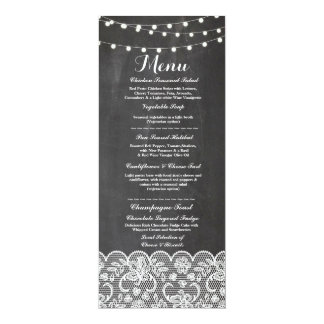 Menu Wedding Reception Rustic Chalk Lace Winter Card