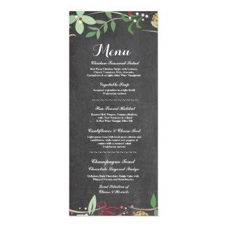 Menu Wedding Reception Rustic Chalk Winter Cards