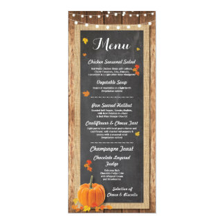 Menu Wedding Reception Rustic Pumpkin Chalk Card