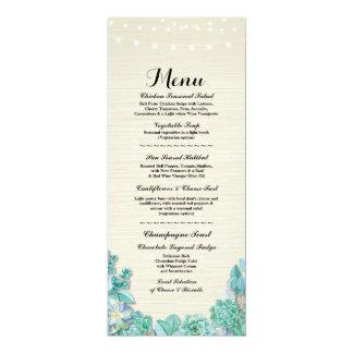 Menu Wedding Reception Rustic Succulents Mint Card