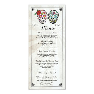 Menu Wedding Reception Rustic Sugar Skulls Menus Card