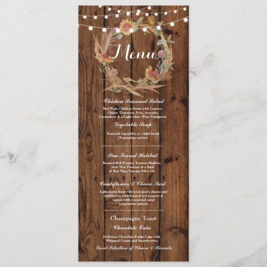 Menu Wedding Reception Rustic Wood Fall Lights