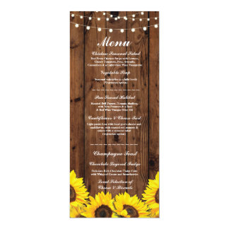 Menu Wedding Reception Rustic Wood Sunflowers Card