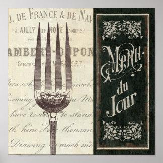 Menú y bifurcación franceses póster
