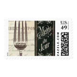 Menú y bifurcación franceses sellos postales