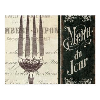 Menú y bifurcación franceses postal