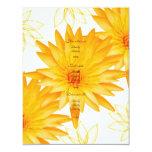 Menús amarillos de los lillies - personalizar del invitación 10,8 x 13,9 cm