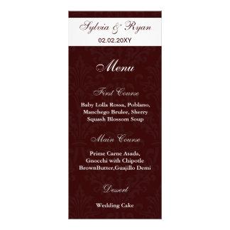 """menús marrones del boda de la foto de la moca folleto publicitario 4"""" x 9"""""""
