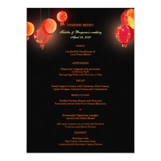 """Menús rojos de lujo de la cena de boda de las invitación 6.5"""" x 8.75"""""""