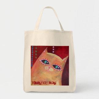 """Meow and Forever"" Original Artwork Grocery Tote Bag"