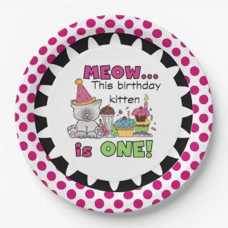 Meow Birthday Kitten 1st Birthday Paper Plates