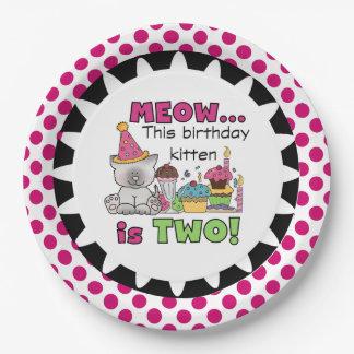 Meow Birthday Kitten 2nd Birthday Paper Plates