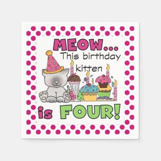 Meow Birthday Kitten 4th Birthday Paper Napkins