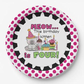 Meow Birthday Kitten 4th Birthday Paper Plates