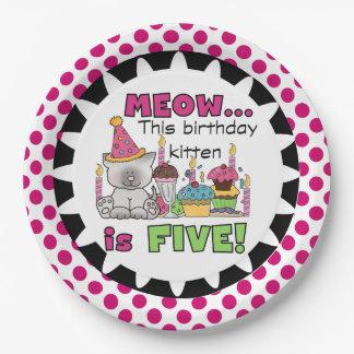Meow Birthday Kitten 5th Birthday Paper Plates