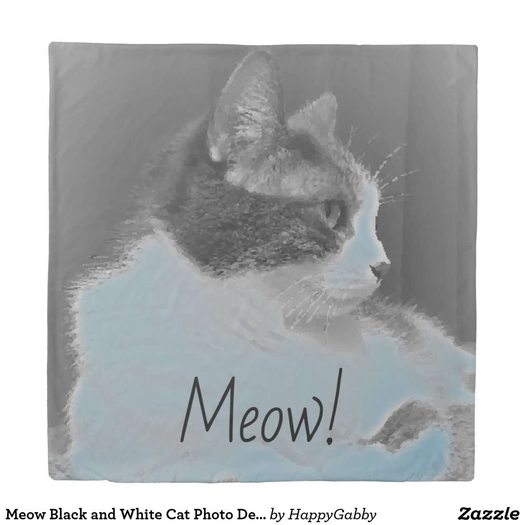 Black and White Cat Photo Design Duvet Cover