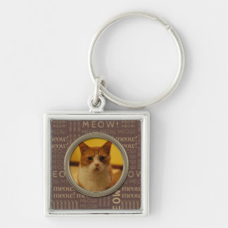 Meow Brown Pattern Add Your Own Cat Photo Keychain