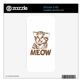 MEOW Brown iPhone 4 Decal