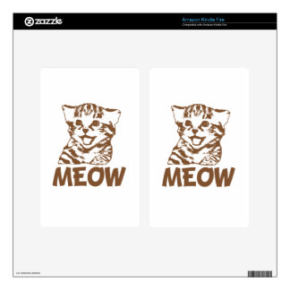 MEOW Brown Kindle Fire Skin