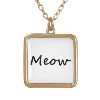 Meow Cat Kitty Voice Meowing Kitten Neko Calling Square Pendant Necklace