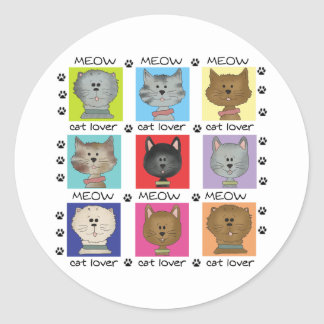 Meow Cat Lover Classic Round Sticker