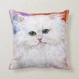 Meow Cat Pillow Odd Eye Persian White