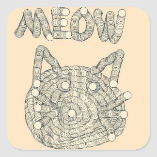 MEOW Cat Square Sticker