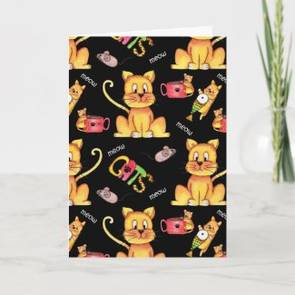 Meow Cats Black Funny Cat Lady Birthday Card