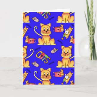 Meow Cats Blue Funny Cat Lady Birthday Card