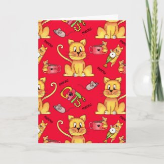 Meow Cats Red Funny Cat Lady Birthday Card