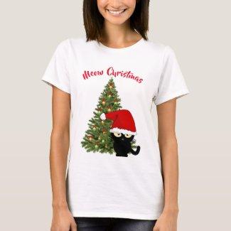 Meow Christmas Black Cartoon Cat Holiday T-Shirt
