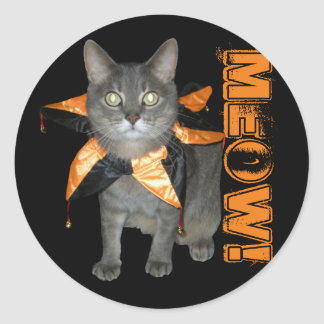 Meow Costume Cat Classic Round Sticker