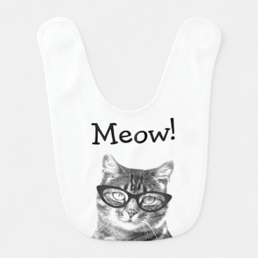 Toddler & Baby themed Meow! Cute cat with glasses baby bib
