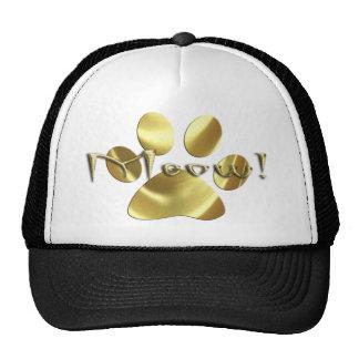 Meow Gold Cat Paw Print! Trucker Hat