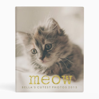 Meow Gold Foil Text Add Your Cat's Photo Mini Binder