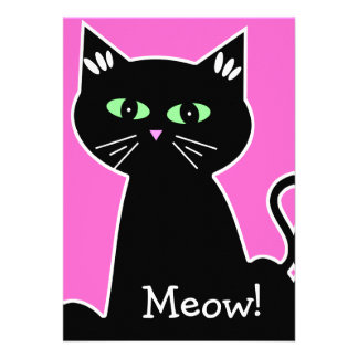 Meow Green Eyed Black Cat Bachelorette Party Invites