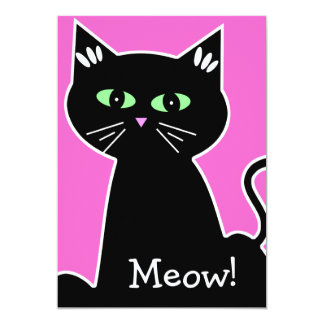 Meow! Green Eyed Black Cat Bachelorette Party 5x7 Paper Invitation Card