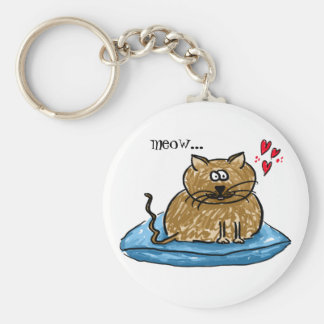 Meow... illustration of a cat on a cushion key-rin keychain