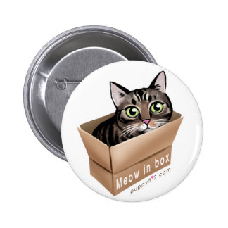 Meow in box pinback button